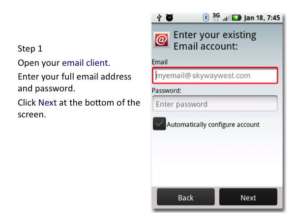 Android Email Settings - Skyway West
