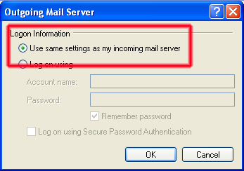 Outlook Express Email Setup Insecure Outgoing