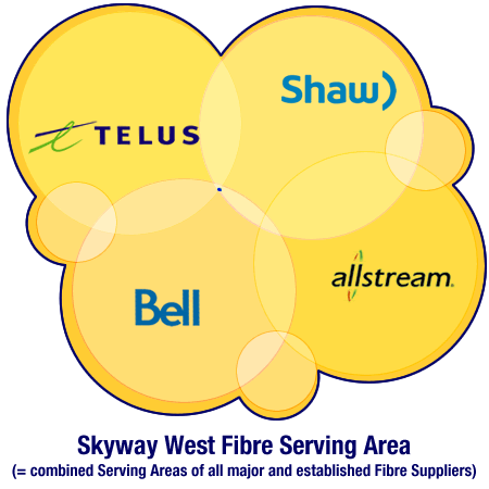 The Skyway West Serving Area is the combined size of all the major Fibre supplier's Serving Areas